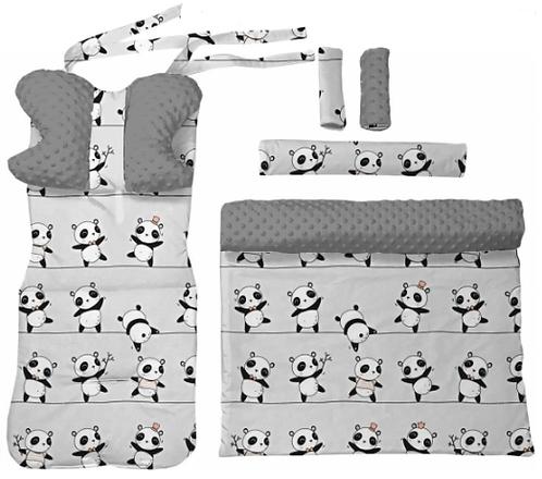 Gray minky & panda 6 pcs linner set