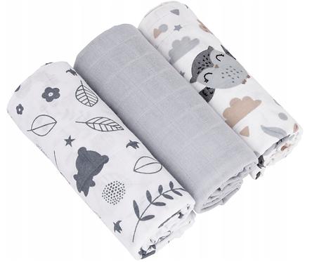 Muslin Cloths (3 pcs) - forest / gray /owl