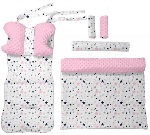 Pink minky & stars 6 pcs linner set