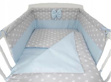 3 pcs Cot Bedding Set BLUE&STARS