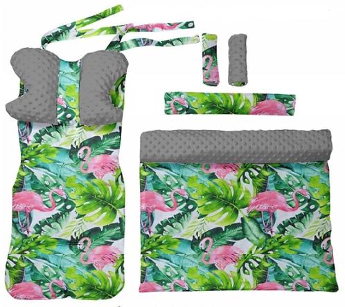 Gray minky &  flamingo -  6 pcs linner set