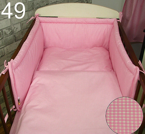 3 Pcs Cot Bedding Set-  Pink Chequered Pattern