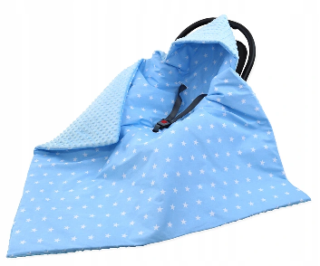 Large Hooded Winter Car Seat Blanket BLUE& WHITE STARS