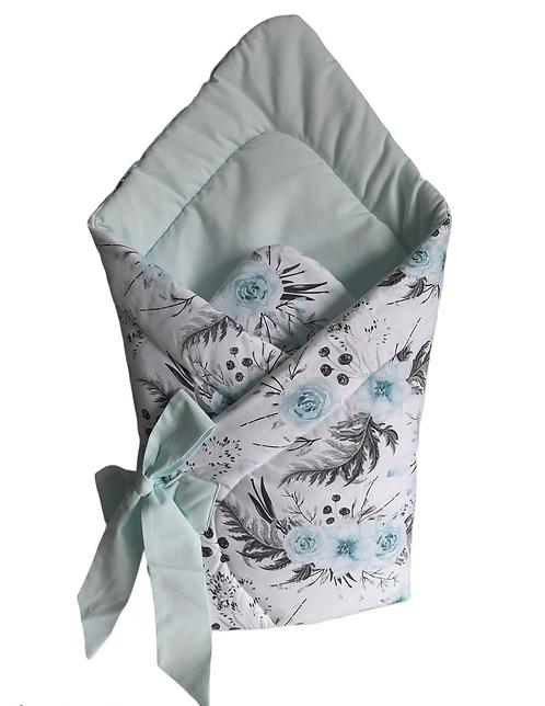 swaddle/wrap -mint flowers