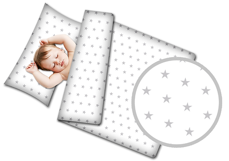 3 pcs Cot Bedding Set - White & Gray Stars