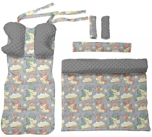 Gray minky & unicorns - 6 pcs linner set