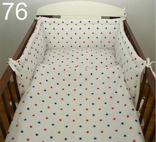 3 Pcs Cot Bedding Set- White& Red/Navy Stars
