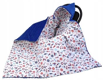 Large Hooded Winter Car Seat Blanket Navy& Sea