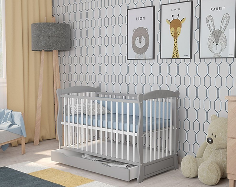 Cot Bed/ Toddler Bed with drawer - WHITE&GRAY HEART