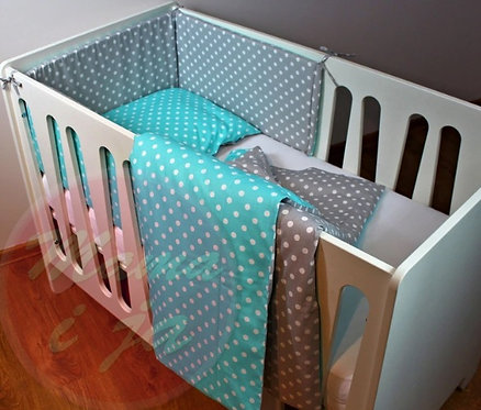 3 pcs Cot Bedding Set- Mint & Dots