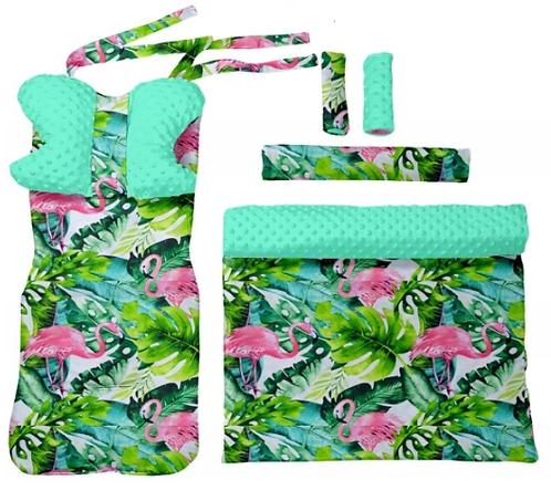 Turquoise minky & flamingos - 6 pcs linner set