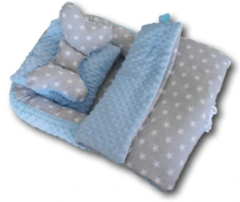 Baby Nest Set - grey stars / blue minky