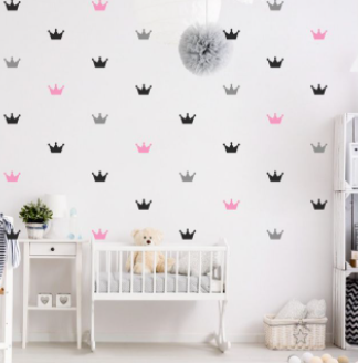 """Decowall """" Pink Crowns"""" wall stickers"""