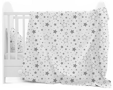 """""""BIG GREY STARS"""" Cot bedding set"""