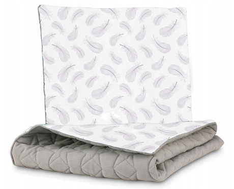 QUILTED VELVET BEDDING SET - GRAY&FEATHERS