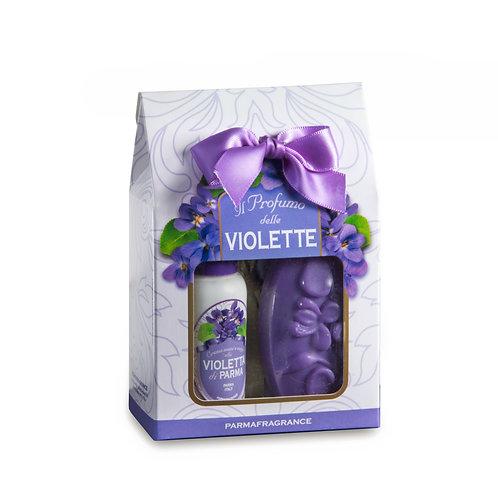 Cofanetto Mini Profumatore raso +Sapone+ Crema Violetta Parmafragrance