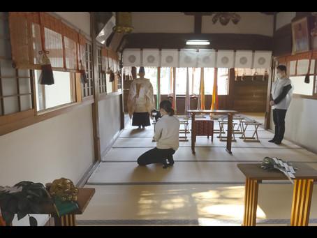 柴籬神社での御祈祷シーンの動画撮影