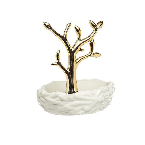 Stoneware Tree Shaped Soap Dish/Ring Holder Gold & White