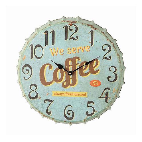 Metal Bottle Cap Wall Clock Aqua