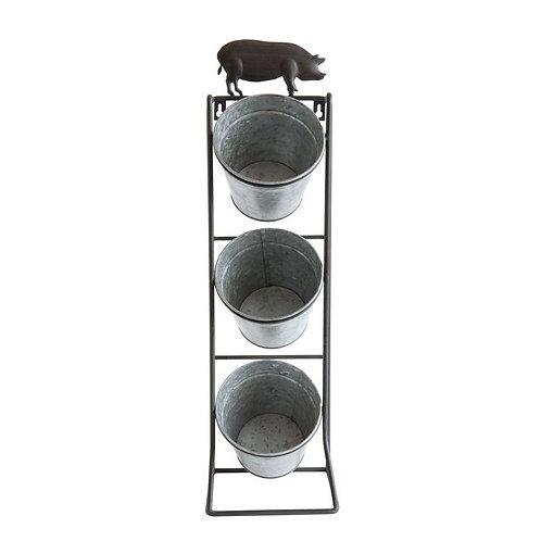 Metal Wall Planter w/ 3 Buckets