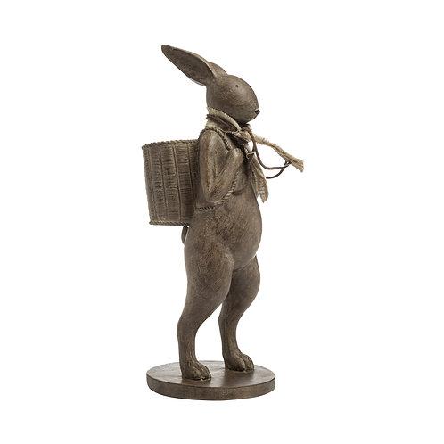 Resin Rabbit w/ Scarf & Basket Brown
