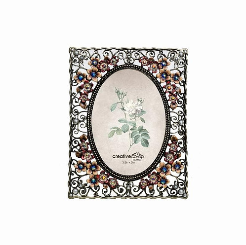 "3.5"" x 5"" Metal Photo Frame Flower Red"