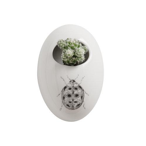 Daphne Stoneware Wall Flower Pot w/ Ladybug