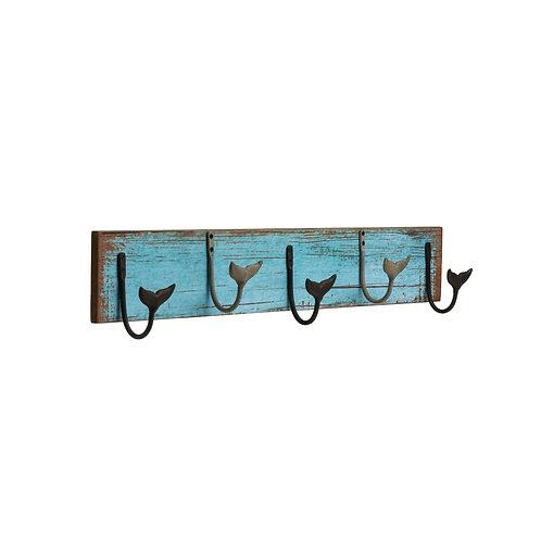 MDF Wall Hanger w/ 5 Metal Whale Tail Hooks