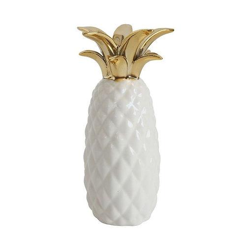 Stoneware Pineapple Vase, White w/ Gold Electroplated Finish