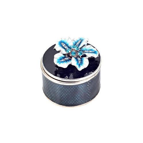 Turquoise Enamel Flower Trinket Box