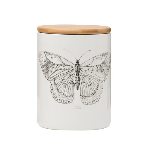 Daphne Stoneware Jar w/ Bamboo Lid & Butterfly