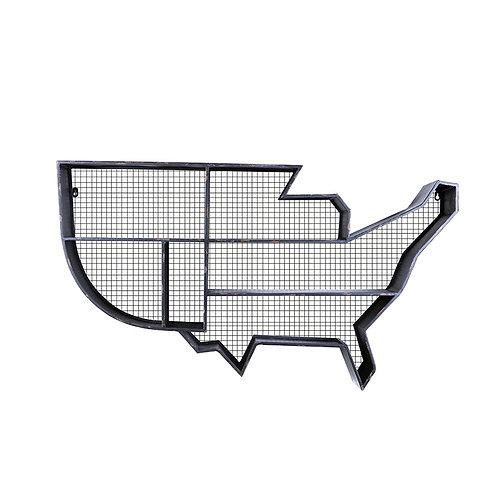 Distressed Black Metal Map of America Wall Organizer