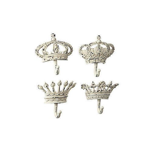 Cream Metal Crown Wall Hooks 4 Styles