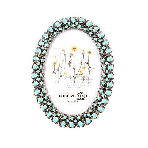 "4"" x 6"" Turquoise Jewel Oval Photo Frame"