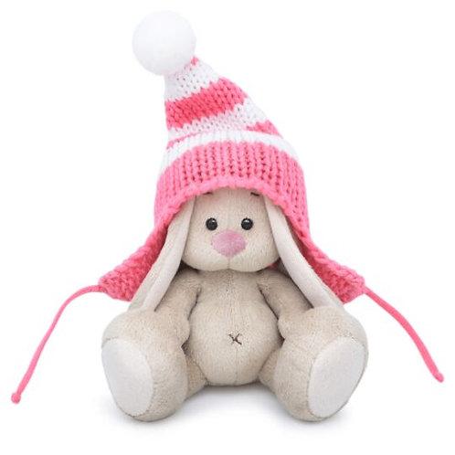 BUDI BASA   MI  baby   ピンクのシマシマニット帽