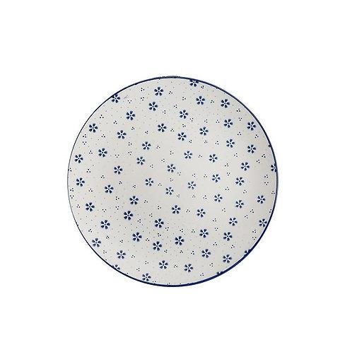 Stoneware Plate w/ Floral Pattern Blue