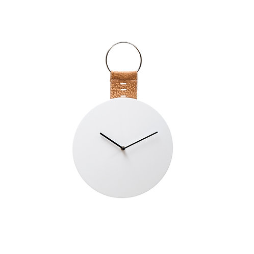 MDF Wall Clock w/ PU Hanging White