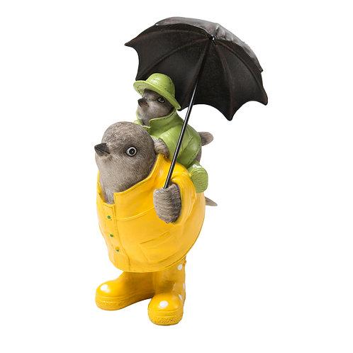 Resin Birds In Raincoats w/ Metal Umbrella