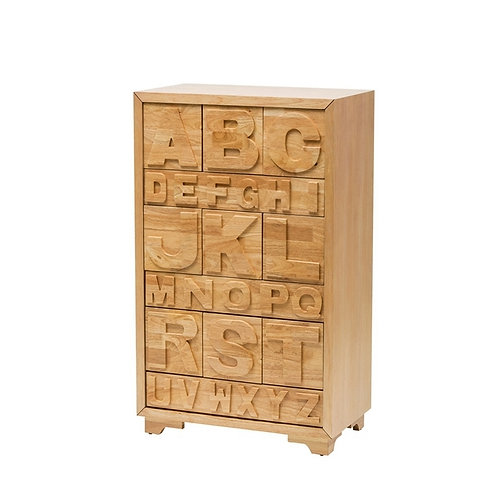 Rubber Wood Letter Cabinet w/ 12 Drawers