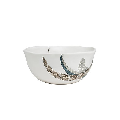 Dolomite Bowl w/ Feather Decal