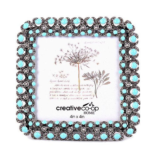 "4"" x 4"" Turquoise Jewel Square Photo Frame"