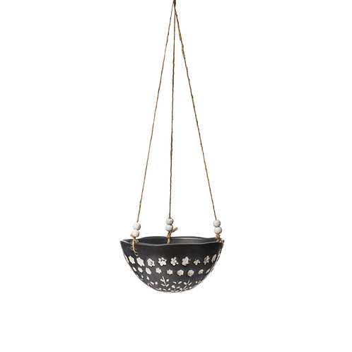 Dolomite Hanging Planter w/ Small Floral Pattern