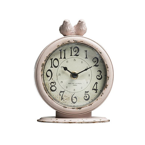 Pewter Table Clock w/ Birds Pink