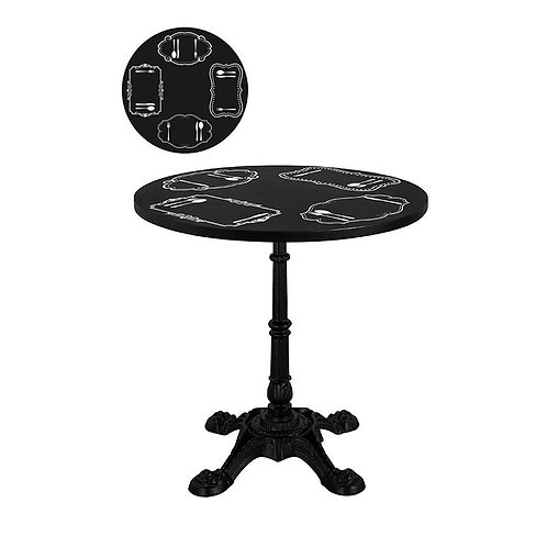 Round Chalkboard Caf Table w/ Retro Printing KD