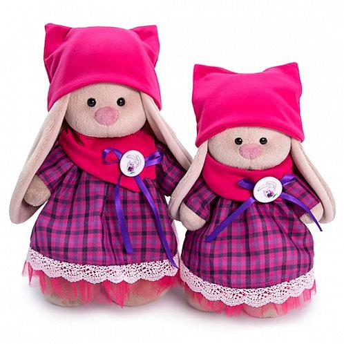 BUDI BASA  うさぎのMI  ピンクのネコミミニット帽&チェックのドレス