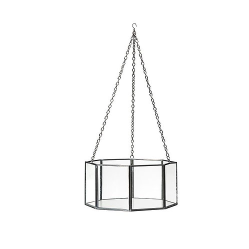 Brass & Glass Hanging Terrarium Black
