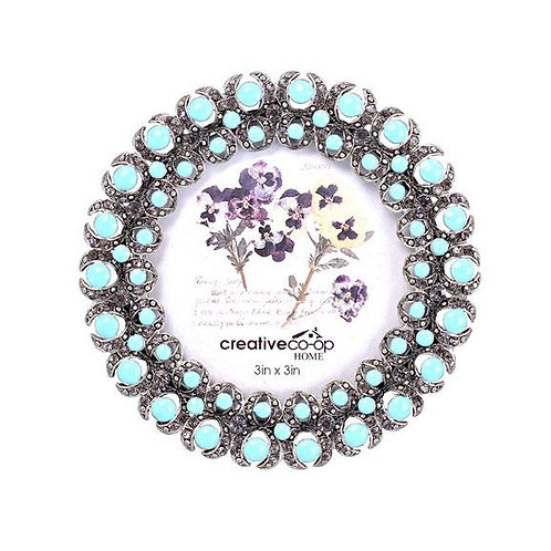 "3"" x 3"" Turquoise Jewel Round Photo Frame"