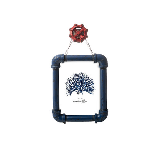 "5"" x 7"" Resin Hanging Photo Frame w/ Faucet Blue & Red"