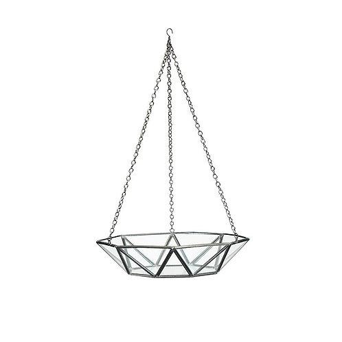 Brass & Glass Hanging Terrarium Black