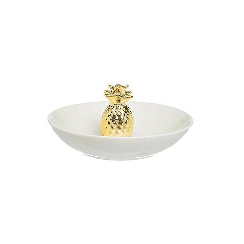 Stoneware Jewelry Holder w/ Gold Pineapple White